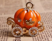 1pcs Fashion Crystal hot Orange Pumpkin car Alloy jewelry Accessories materials supplies