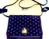Vintage LANVIN Navy Monogram Suede 2-Way Cross Body Bag or Clutch
