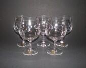 5 Swedish Kosta Wine Glasses with Labels, NOS Sweden Bergh Kristall Crystal Stemware, Wine Brandy Snifter