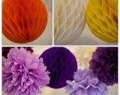 HONEYCOMB POM BALL / Tissue Paper Hanging Party Decoration / Wedding Decor