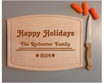"Personalized ""Happy Holidays"" Cutting Board"