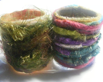 Scarf Slide Set of 2  Fiber Ring Scarf tie Pareo ring Scarf anchor Multicolor Green