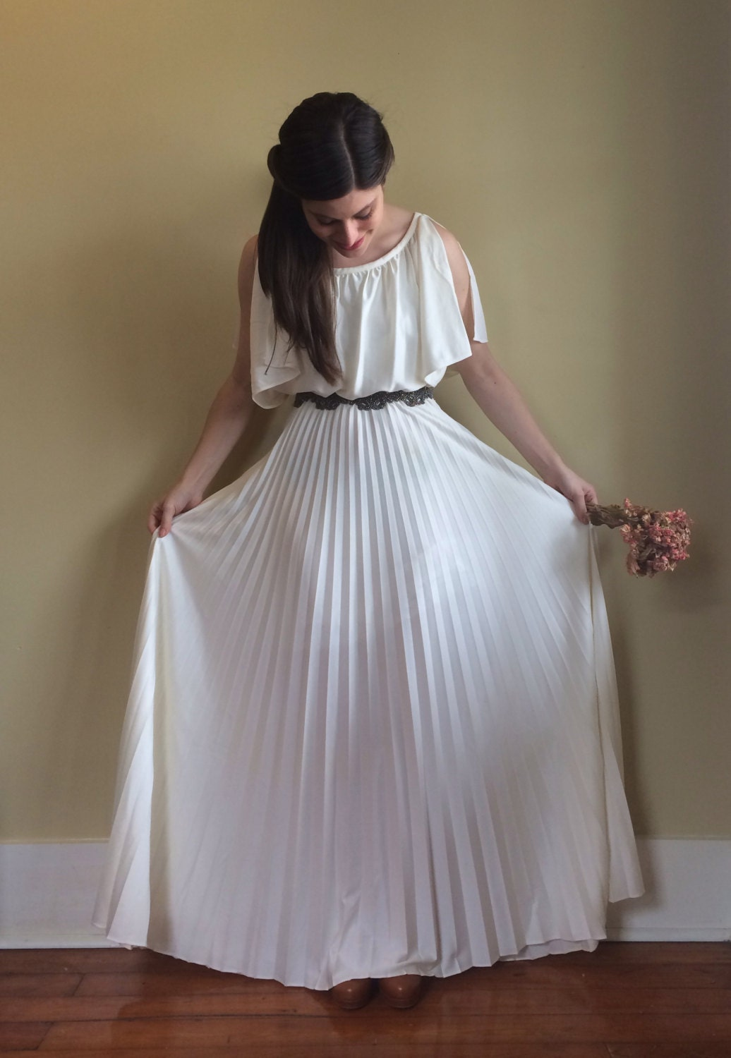 Vintage 70s Greek Goddess Wedding Dress with Pleated Maxi