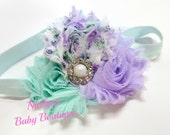 Flower Headband Vintage Floral Hair Bows Baby Headbands Newborn Headband Lavender Headband Aqua Headband Pastel Baby Headband Accessories