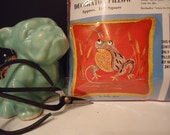 Vintage Pillow Kit, Bucilla Needlework Kit, Frog in the Bulrushes
