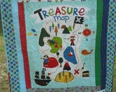 Nautical Quilt, Treasure Map by Riley Blake and Leslie Grainger - Toddler Quilt with Matching Pillowcase - Ready to Send