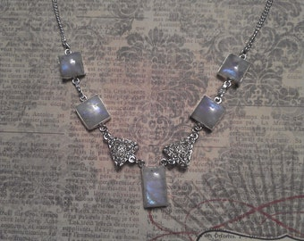 Ornate Square Blue Rainbow Moonstones and Triangle Filigree Bead Accents on Silver Necklace