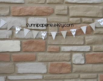 Small Chevron Print Paper Pennant Banner -  Tan, Kraft and White