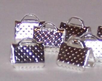 Silvertone end crimps 8 x 6 mm