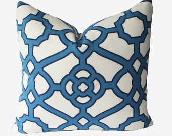 Decorative Outdoor Lattice Fretwork, Blue Trellis, 18x18, 20x20, 22x22 or Lumbar, Throw Pillow