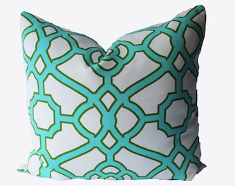 Decorative Outdoor Turquoise Lattice Fretwork, 18x18, 20x20, 22x22 or Lumbar, Aqua Throw Pillow