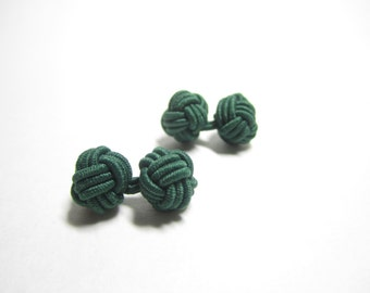 Chinese knot cufflinks in forest green, dark green cuff links, stretch cufflinks, green, cufflinks for women or men, knot cuff links