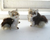 Cat Figurines, Kitten Figurines, Furry Tails, Made in Japan, Set of Two
