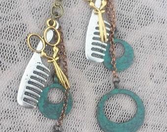 Explorer Scissor and Comb Dangle Scissor Charm Hair Stylist Earrings