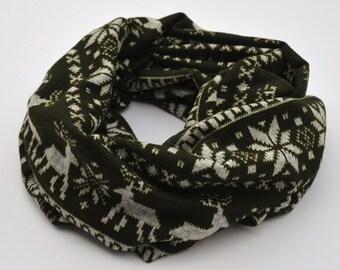 Kids's scarf, Scandinavian print scarf, cowl scarf, green, infinity scarf, kids present, girls, children's scarf, reindeer, snowflake