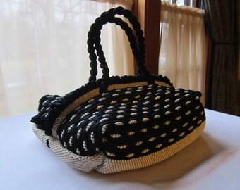 Vintage Black & White Nylon Woven Zipper Handbag