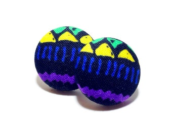 Small African Tribal Print Button Earrings
