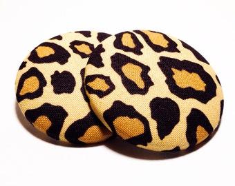 Extra Oversized Amur Leopard Print Button Earrings