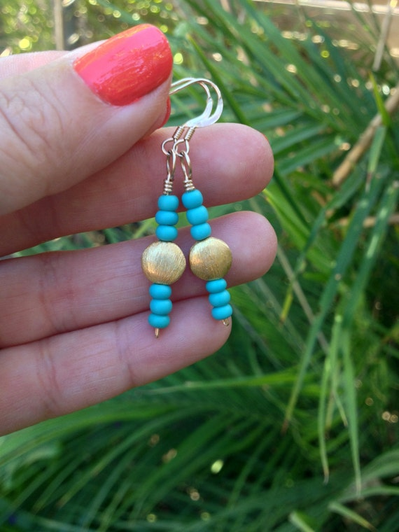 Turquoise Matte Czech Glass and Gold Vermeil Earrings