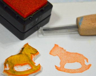 Rocking Horse- Handmade Unmounted Rubber stamp