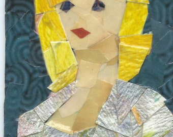 Original ACEO Collage- Lady in Silver