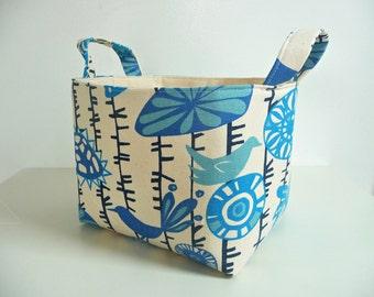 Large Storage Basket Fabric Organizer - Home Organizing - Premier Prints Menagerie Arctic Blue/Natural - Choose Size