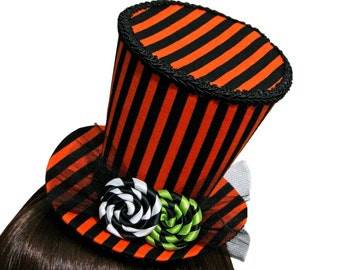 Orange and Black Striped Halloween Candy Top Hat - 9 Candy Colors Available