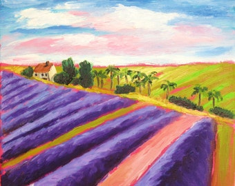 """Original abstract impressionist landscape oil painting """"Fields of Lavender"""" by Rivkah Singh"""