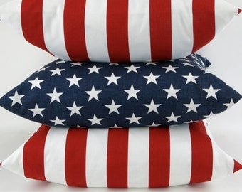 Reversible Pillow Cover Stars and Stripes MANY SIZES