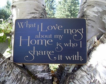 Wood Sign, What I Love Most About My Home, Is Who I Share It With, Handmade, Word Art