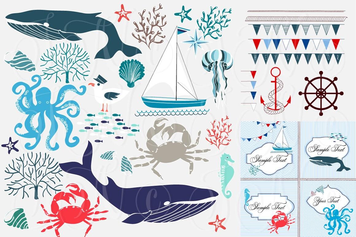 Nautical clip art collage, hand drawn sea clipart ...