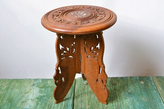 Antique Hand Carved Three Legged Wooden Table