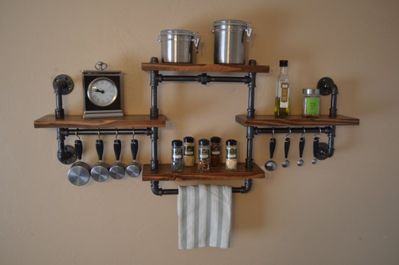 Industrial Pipe Spice Rack Four Shelf Unit With Hanging Bar