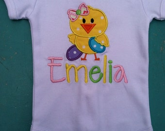 Girls Infant bodysuit- Easter shirt -Short Puff Sleeved- Easter Chick and Eggs - Applique Design with name!!