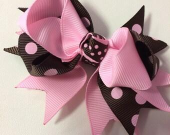 Pink & Brown Polka Dot Ribbon Bow Hair Clip
