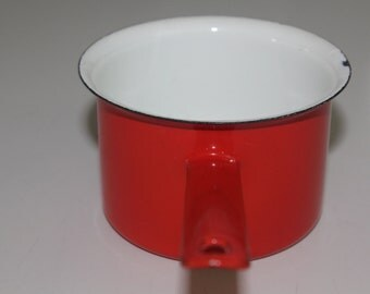 Vintage Bright red Finel butter pan / sauce pan