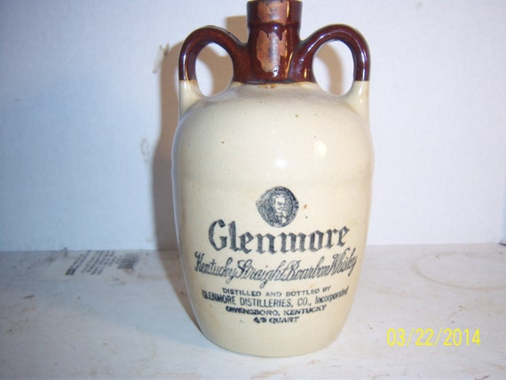 1940's  Glenmore Kentucky Straight Bourbon Whiskey Owensboto, KY 7 3/8 inch tall stoneware jug stoneware bottle