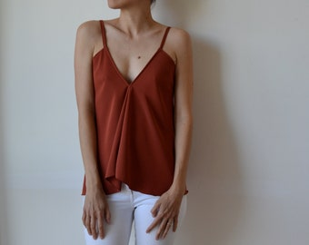 Womens rust terracotta bias cut, flowing top with v front and low v back, boho, evening or casual. One size.