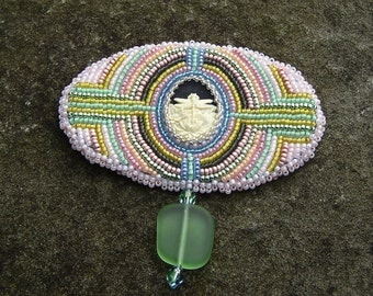 Beadwork Brooch, Dragonfly Cameo, Pink, Green, Blue