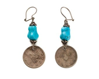 REDUCED from 70 to 50 vintage 1960s/1970s ethnic tribal silver coin earrings w/turquoise beads