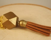 Geometric Wood Necklace with Brown Tassel- Faceted Gold Bead with Leather Tassel