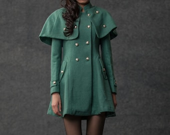 Cape, Cape Coat, military jacket women, military capelet, green wool cape, coat, capes, wool cape coat, military cape, womens jackets C796