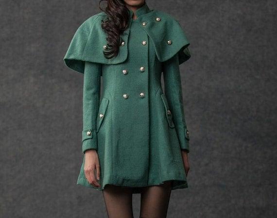 Green Cape Coat - Wool Winter Womens Military Style Short Mini