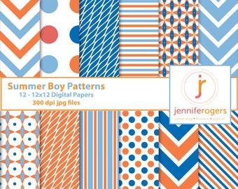 Instant Download Printable Summer Boy Blues & Orange Digital Paper 12 x12, Digital Scrapbooking Paper, Invitation Paper, Commercial Use