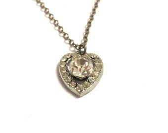 "Costume Silver Tone Rhinestones Heart Necklace - 15"" Long - Valentines - Vintage Valentine # 2109"