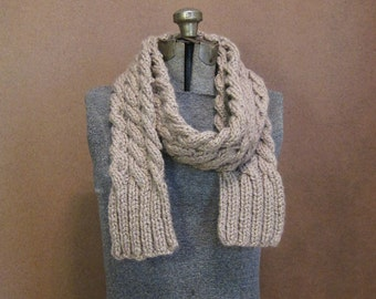 SALE - Chunky Taupe Cable Knit Scarf - The Rainier - Taupe