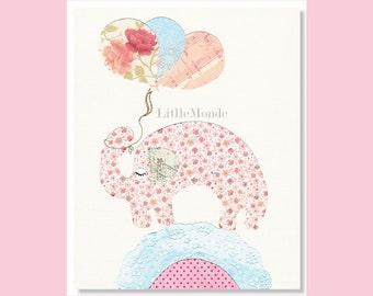 Baby Girl Nursery Prints,, NURSERY ART PRINTS, Retro Nursery, Elephant Nursery Print, Rose, Pink, Balloons, Vintage