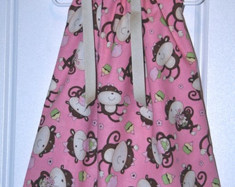 Boutique Pillowcase dress Featuring Monkeys and Cupcakes on Pink :PC030