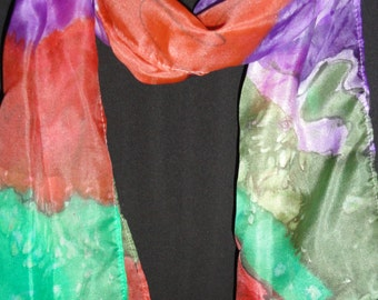"Hand painted silk skarf 55"" x 17""Olive green,red,purple,black,green abstract painting.Lightweight and soft."