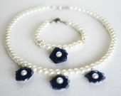 DARK NAVY BLUE flower girl jewelry set necklace and bracelet glass pearl navy blue organza flower ivory or white pearl wedding jewelry